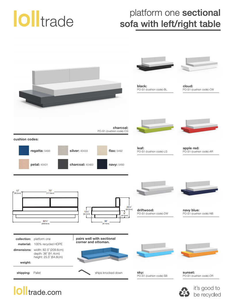 Loll Designs Platform One with table cut sheet