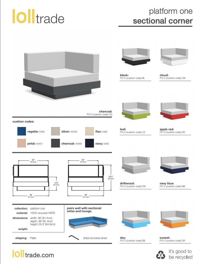 Loll Designs Platform One Sectional Corner cutsheet