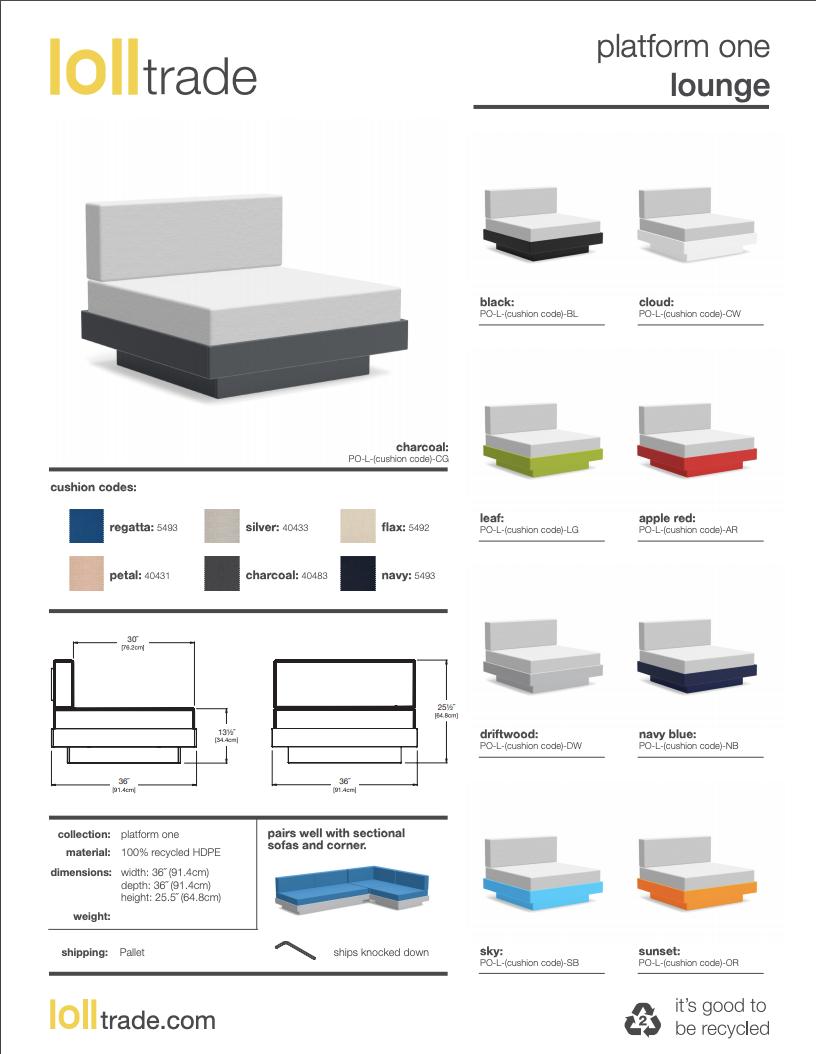 Loll Designs Platform One Lounge cut sheet