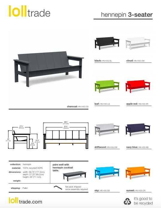Loll Designs Hennepin 3 seater cut sheet