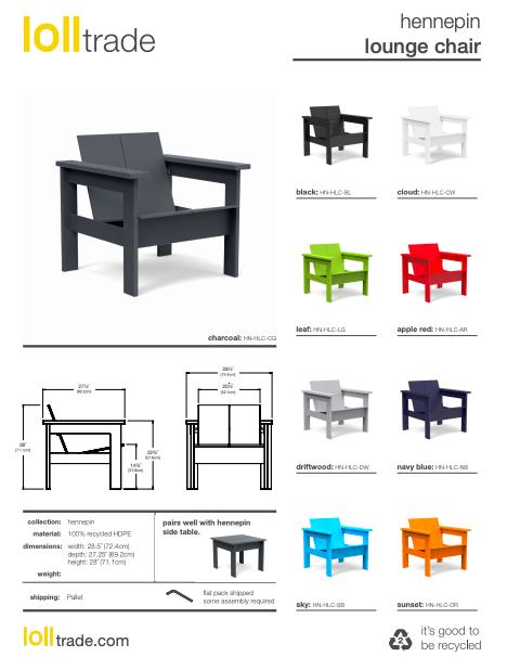 Loll Designs Hennepin lounge chair cut sheet