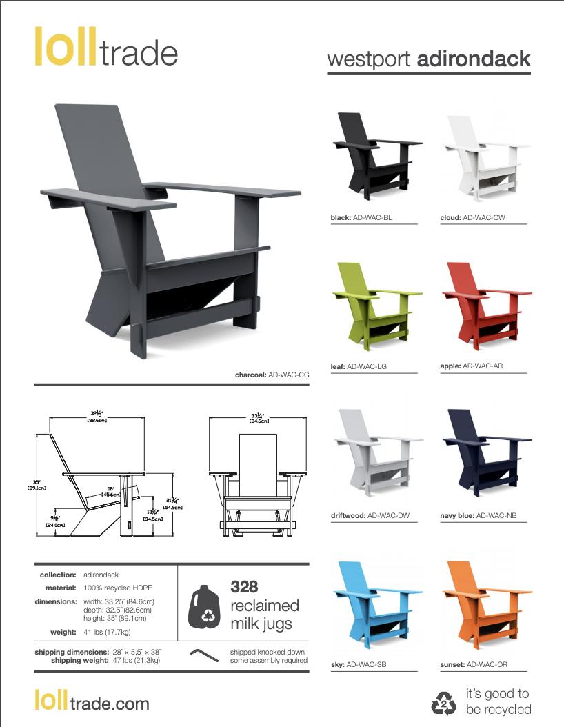 Loll Designs Westport Adirondack cut sheet