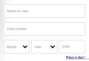 Credit Card Payment Fields