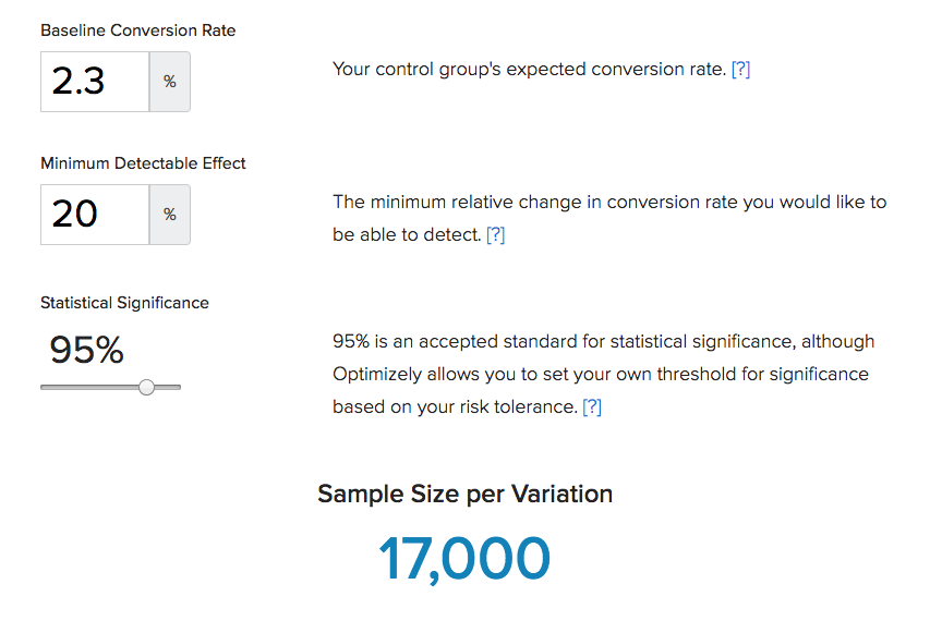 Optimizely's Sample Size Calculator
