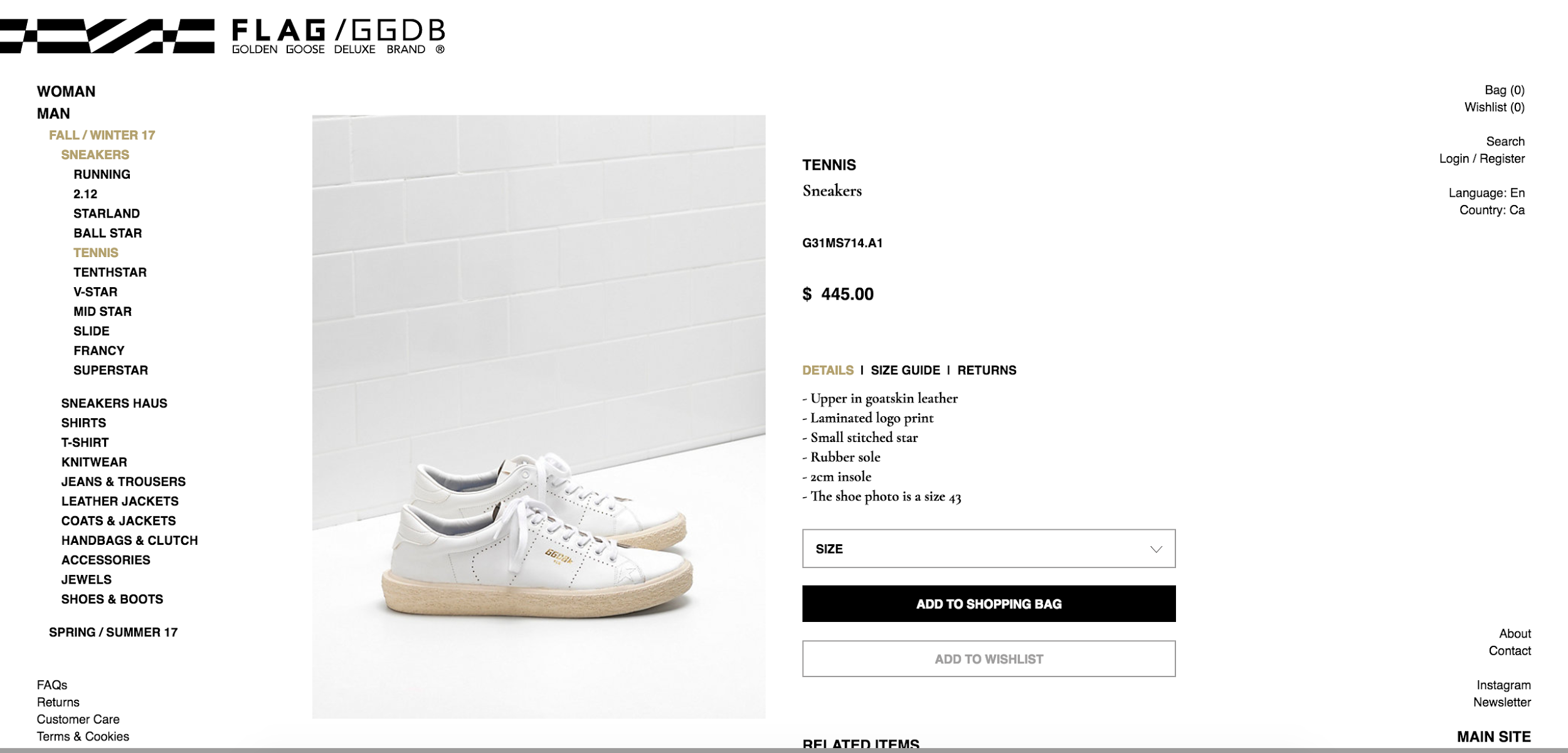 Golden Goose's ecommerce product page is not great on a UX level