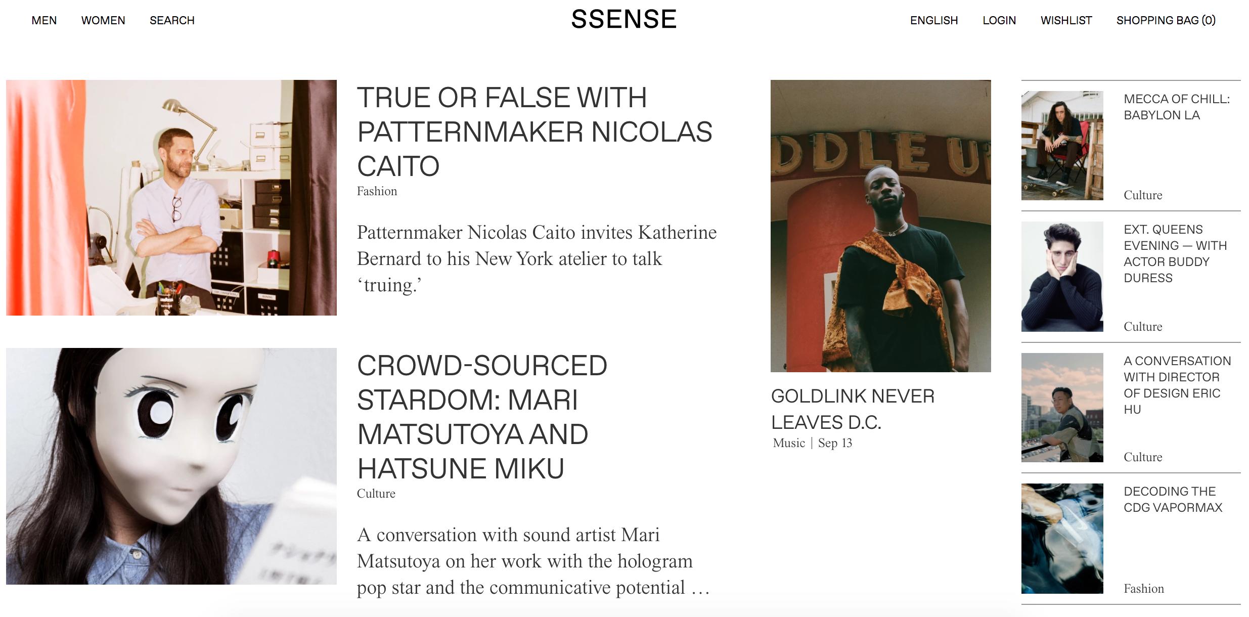 SSENSE's Homepage