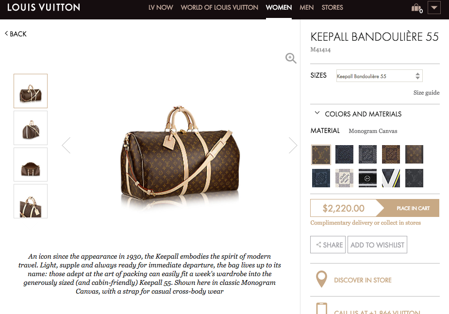 Louis Vuitton Product Page