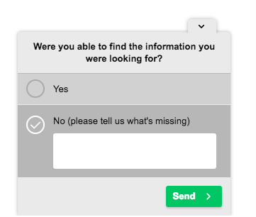 HotJar Poll - Where you able to find the information you were looking for?