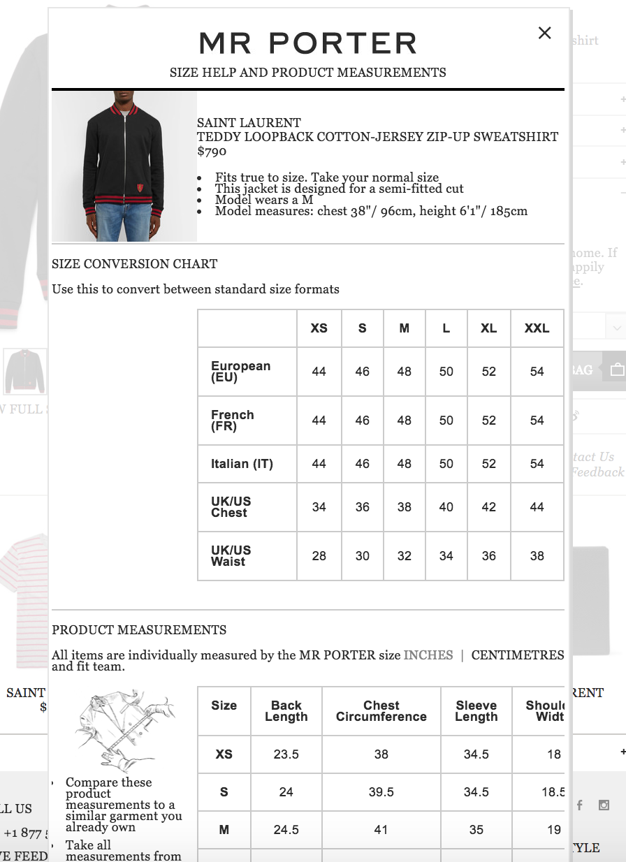 Mr Porter Sizing Chart