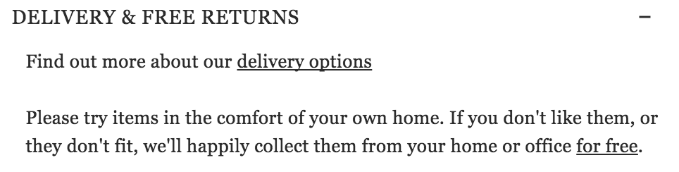 Mr Porter Delivery & Returns Section