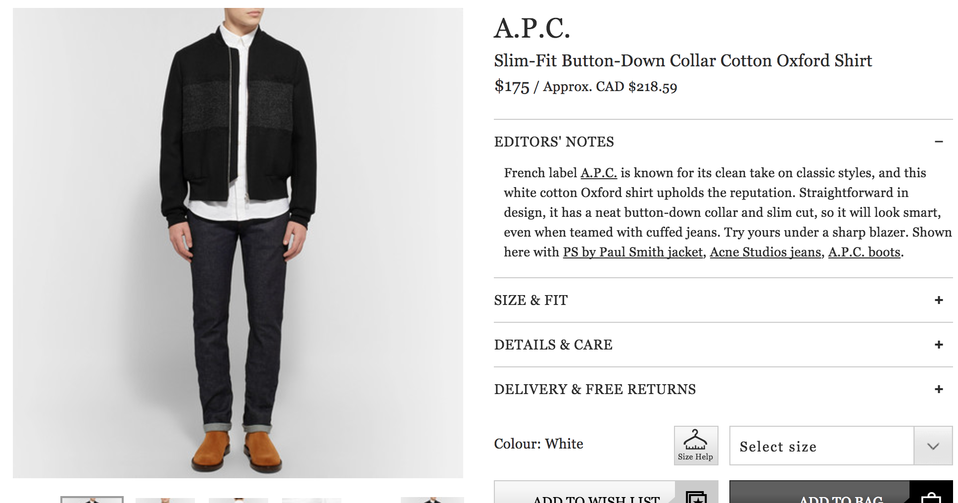Mr Porter Product Details Page