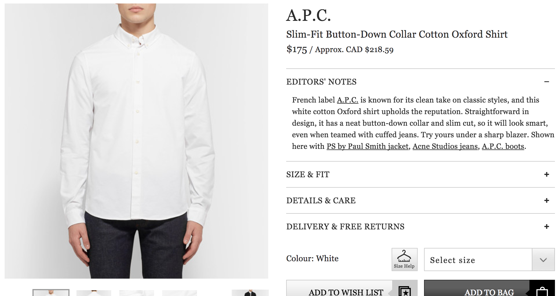 Ecommerce Product Photography for Luxury Products, Mr Porter Example