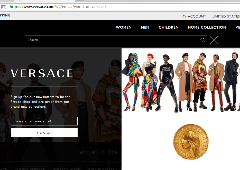 Versace email opt in form