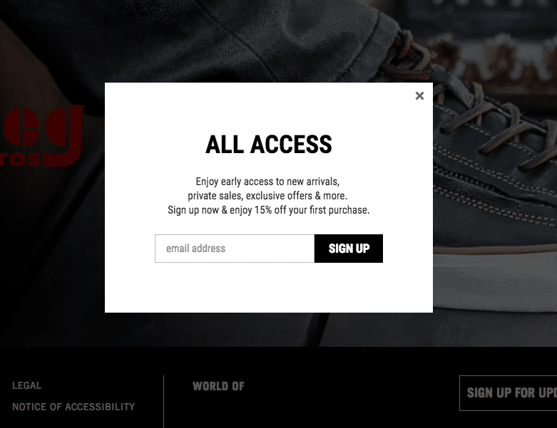 John Varvatos email opt in form
