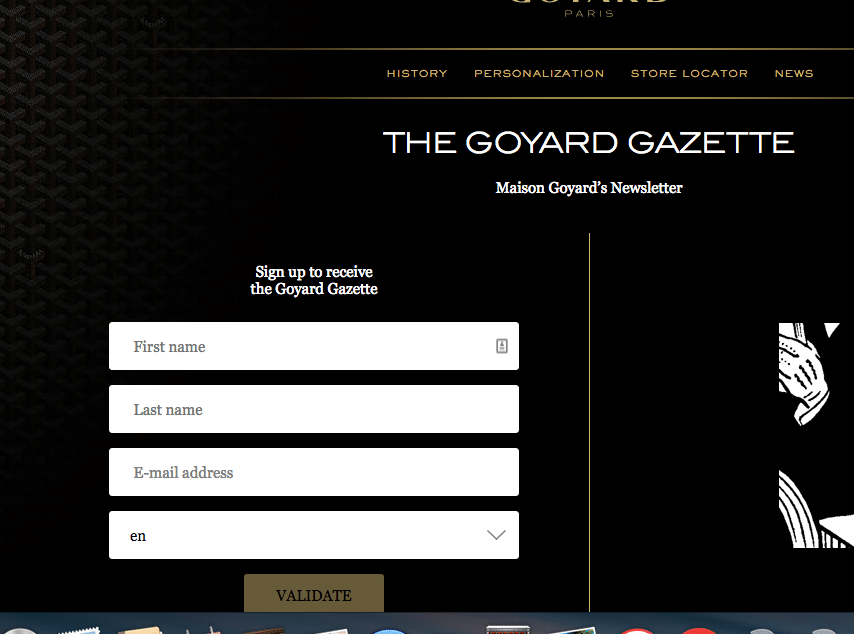 Goyard email opt in form