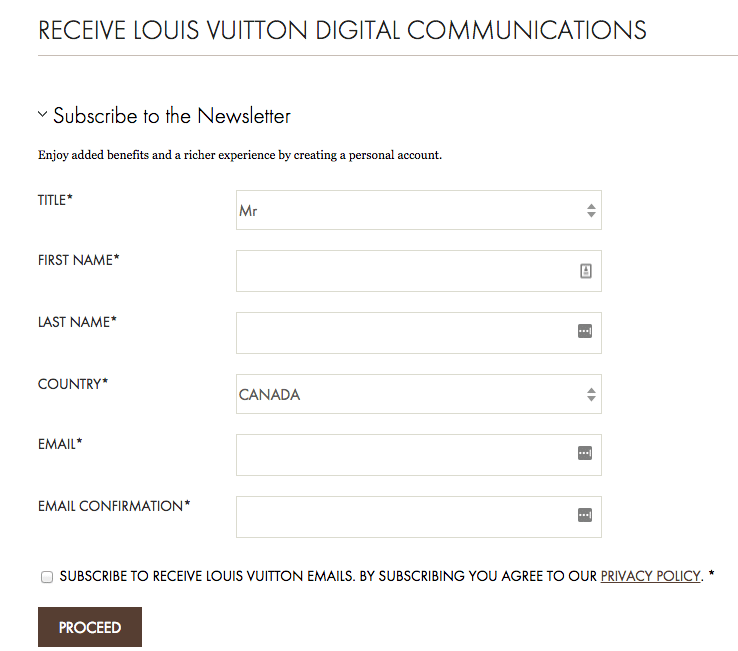 Louis Vuitton email opt in form