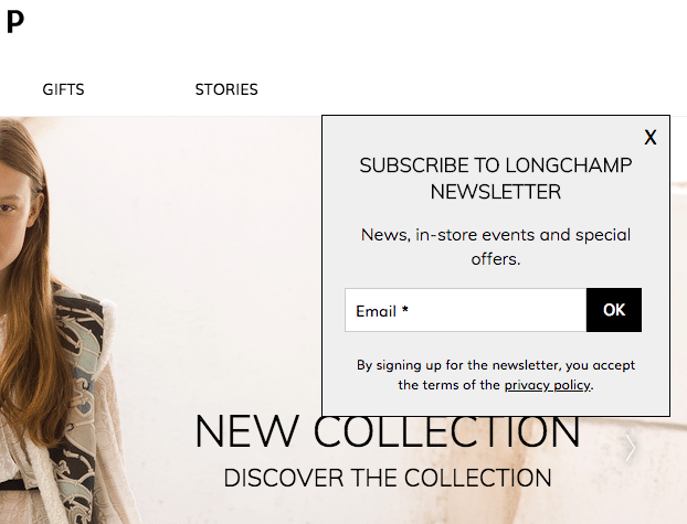 Longchamp email opt in form