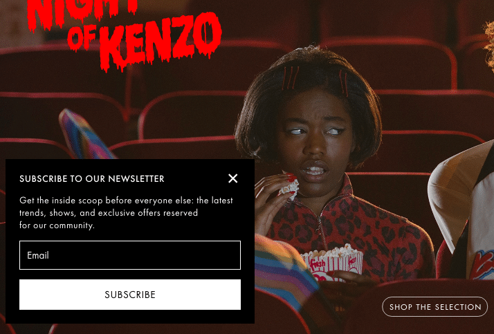 Kenzo email opt in form
