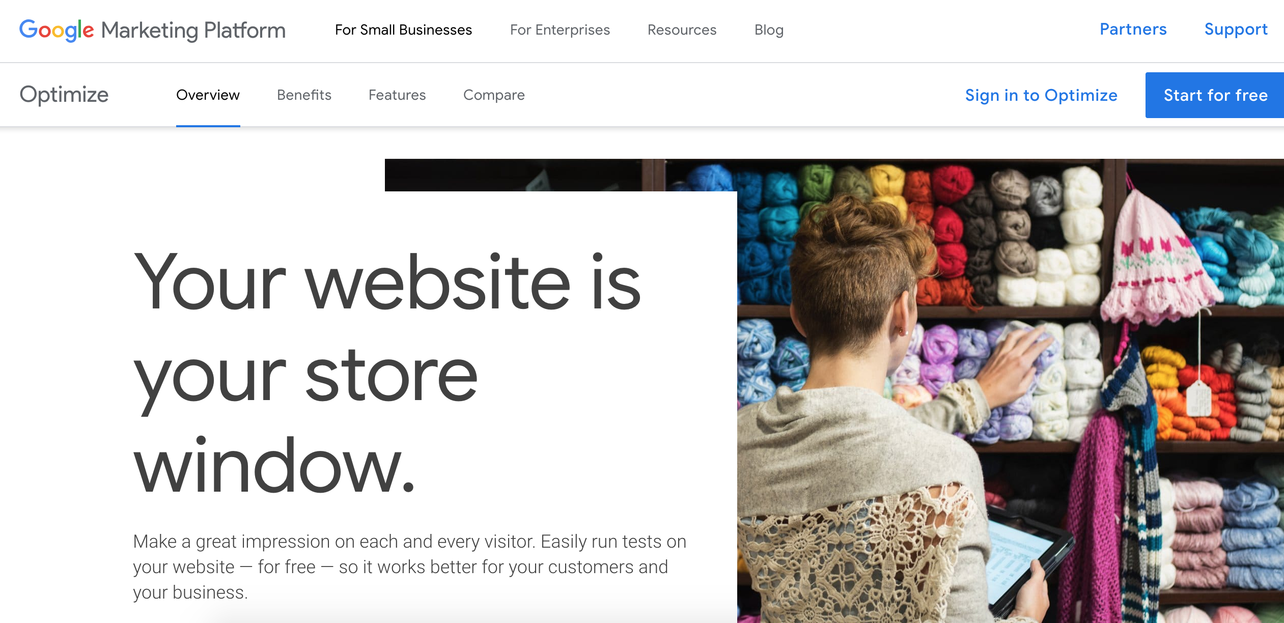Google Optimize is part of Google's Marketing Platform