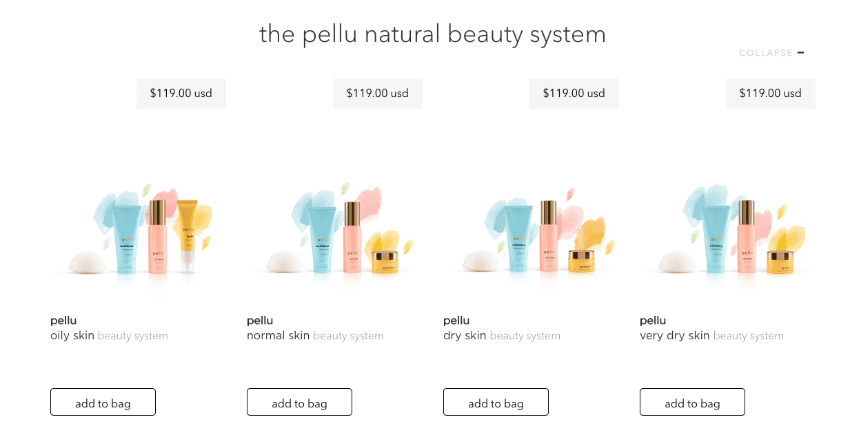 Pellu beauty products by skin type
