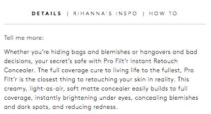 Fenty Beauty Product Page Product Description