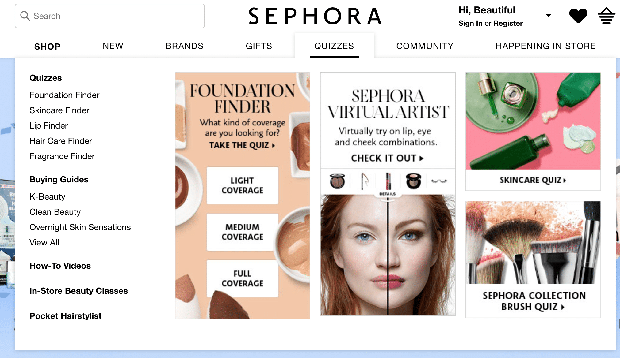 Sephora uses quizzes to find the right products