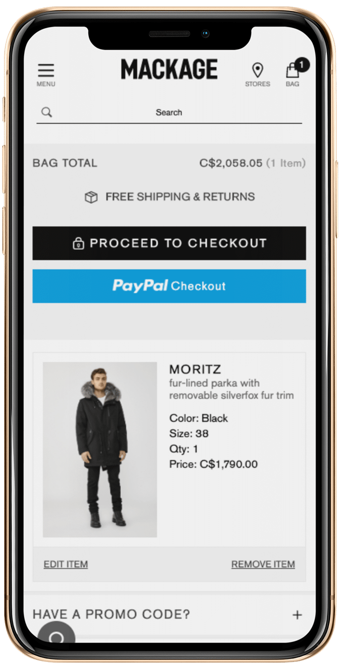Mackage's Mobile Checkout