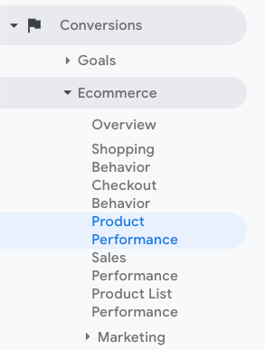 Product Performance Report in Google Analytics