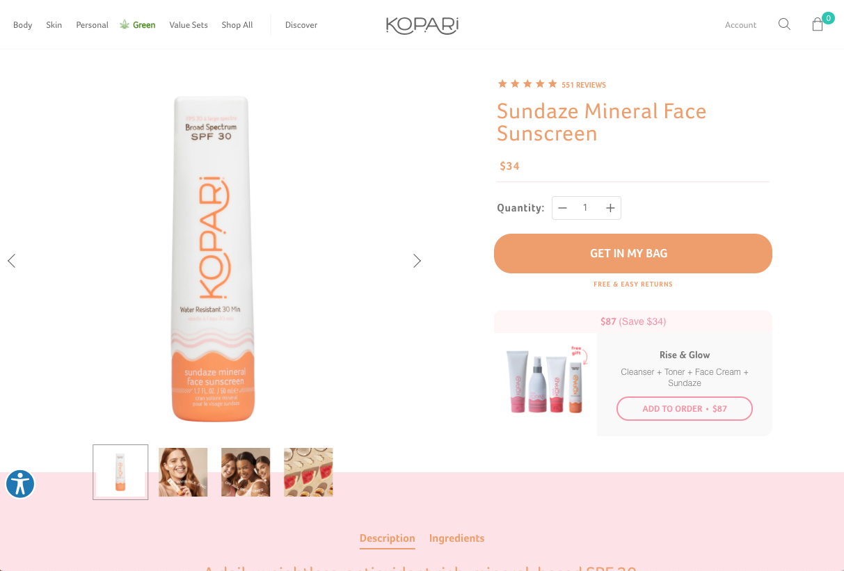 Kopari Beauty Product Page