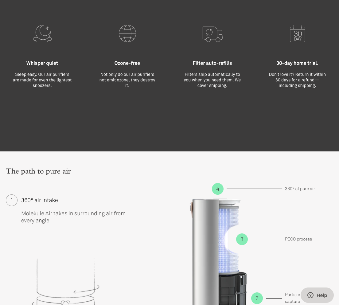Molekule product page design