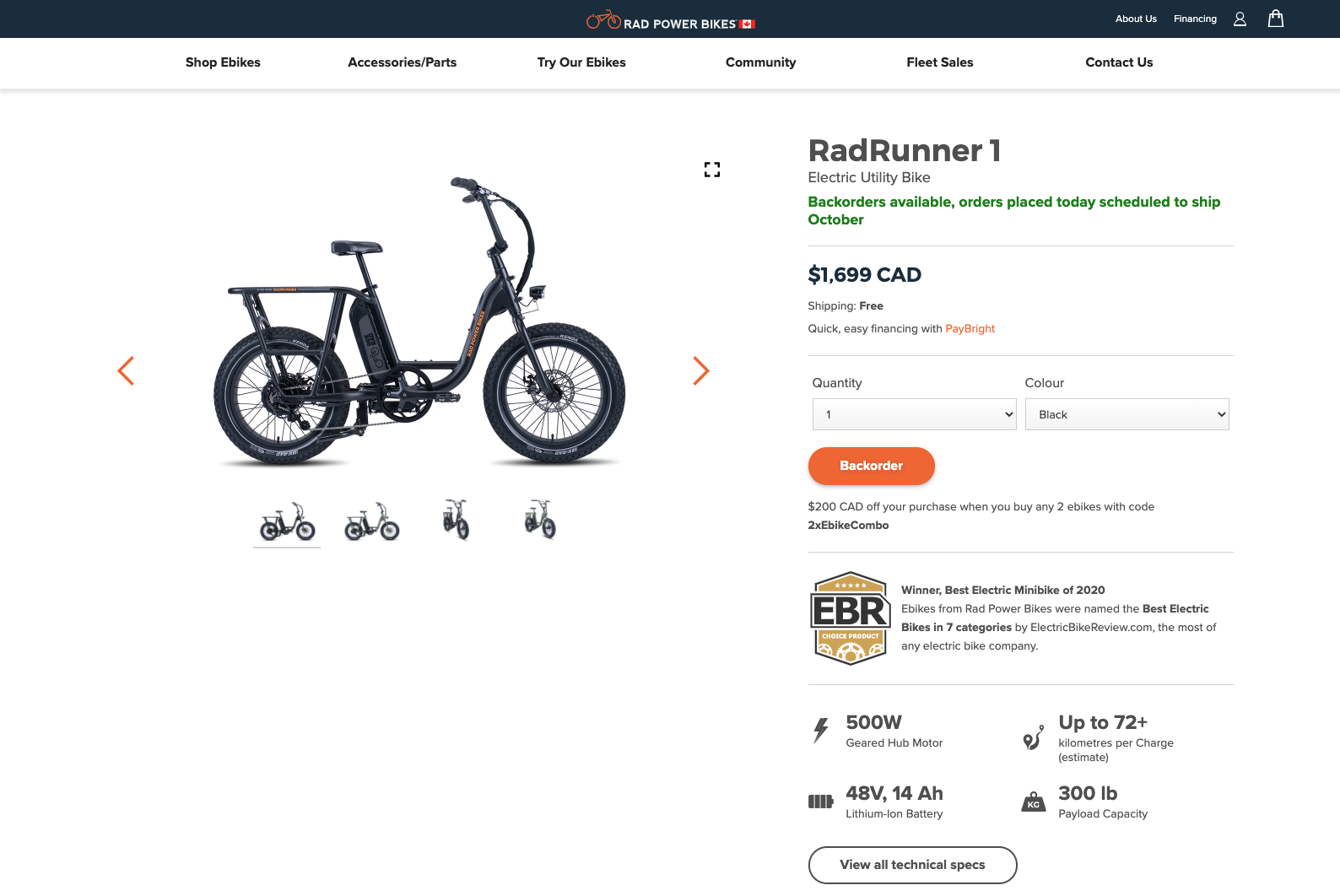 Rad Power Bikes Desktop Product Details Page