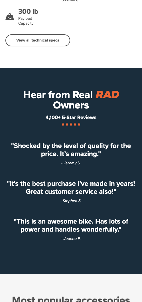 Product Page Testimonials
