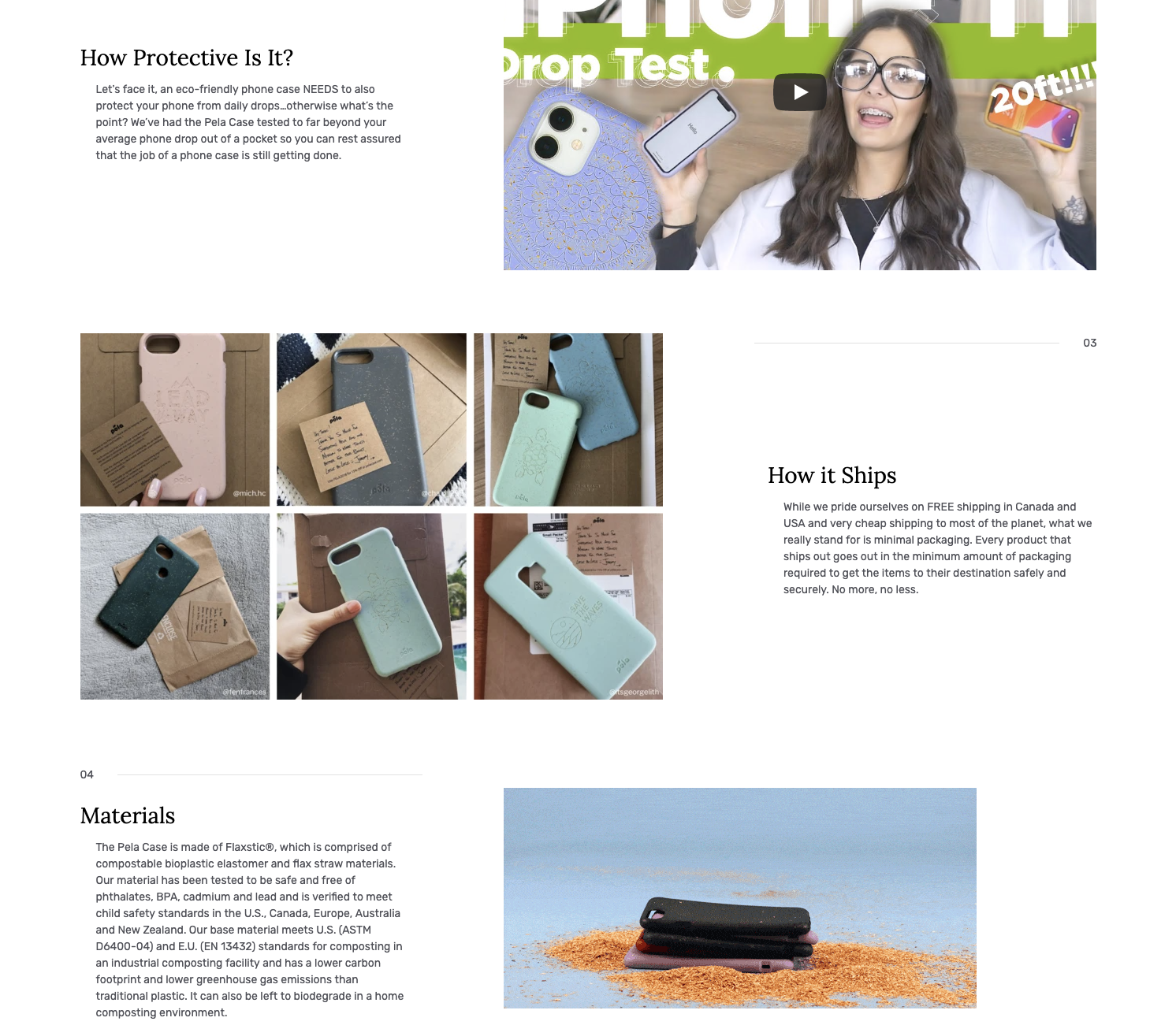 Pela's landing page style product pages