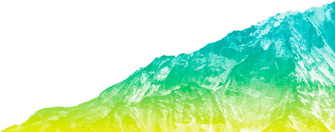 An image of a steep snowy mountain in a colour gradient: yellow in the bottom, green in the center and teal on the top