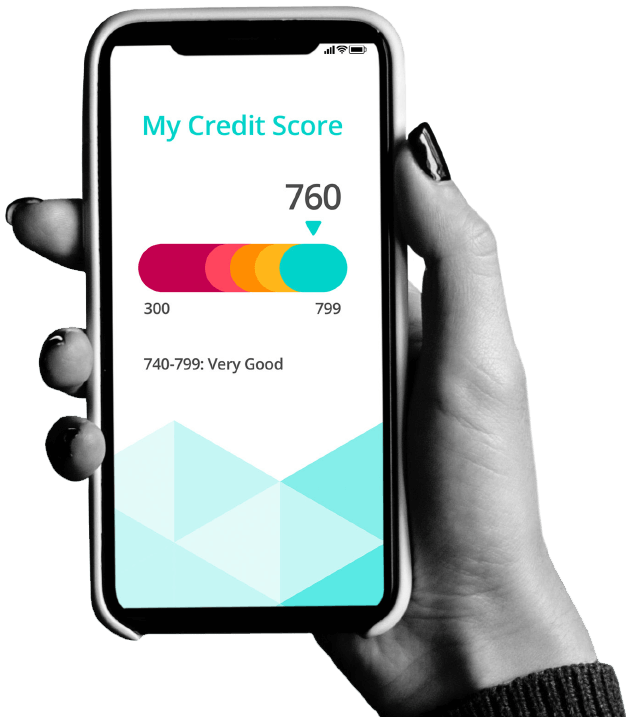 Hand holding phone that shows a good credit score