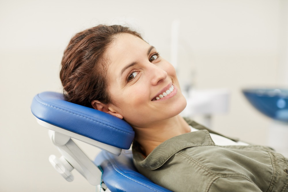 woman in a dental chair