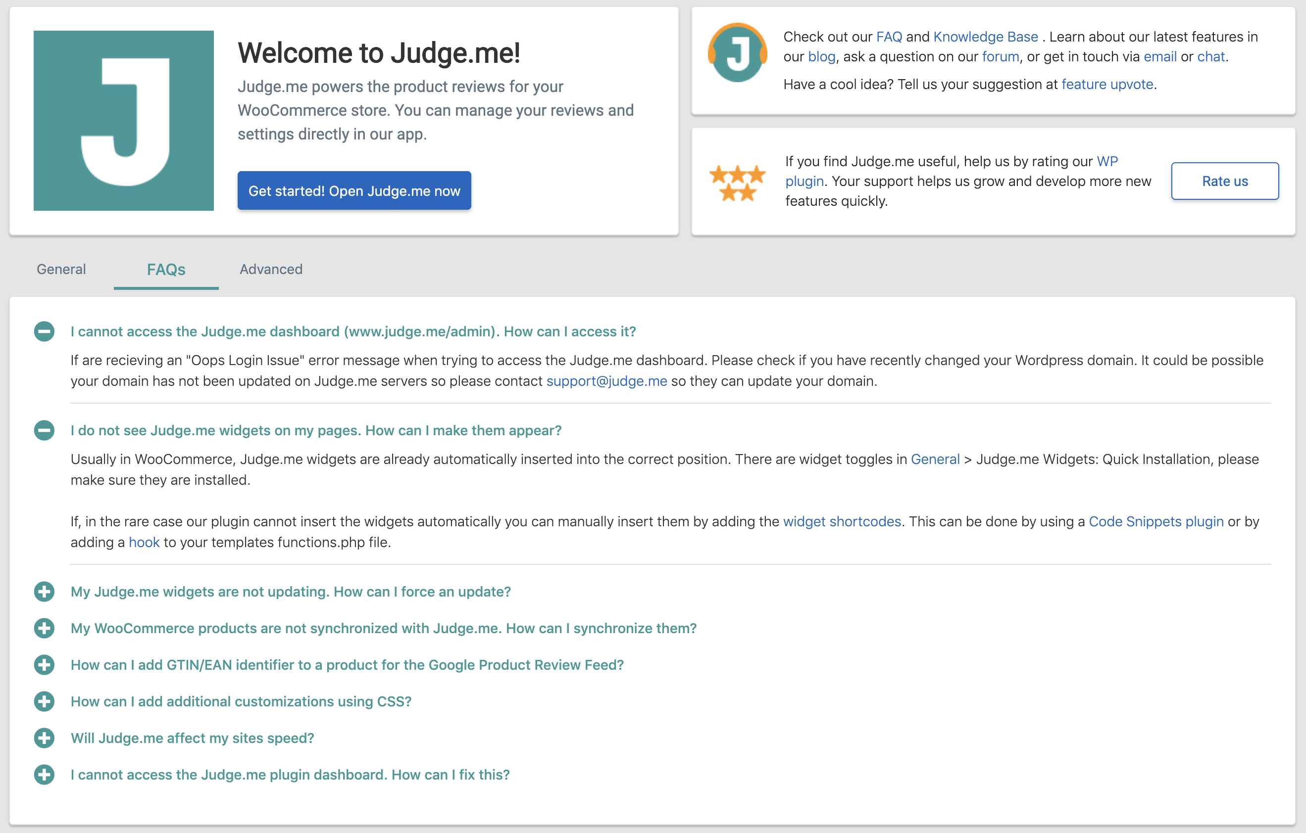 judge.me woocommerce faq
