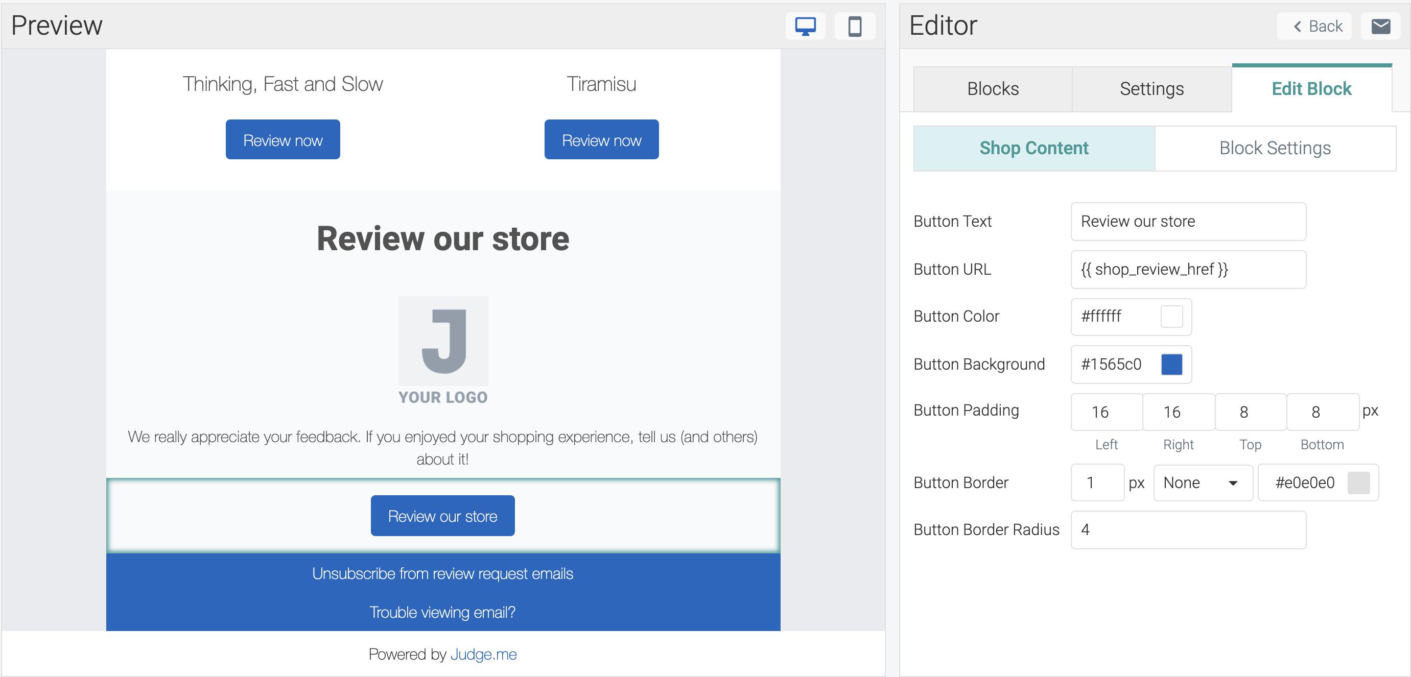 judgeme email templates shop reviews