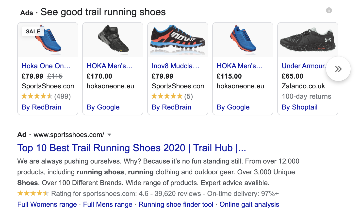 Google search results page showing review rich snippets