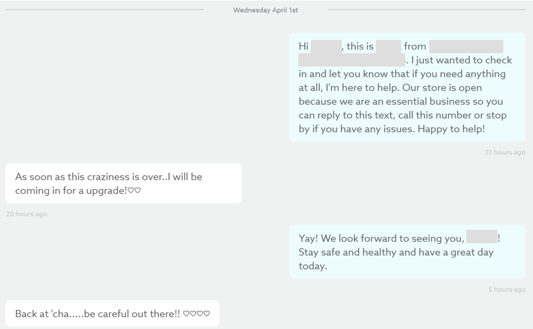 A real exchange between a Cellular Plus sales rep and their customer