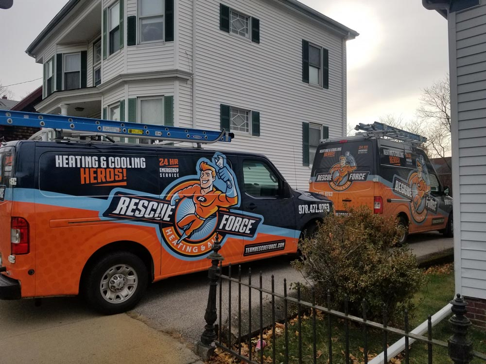 Rescue Force Heating and Air vans in Ipswich, MA
