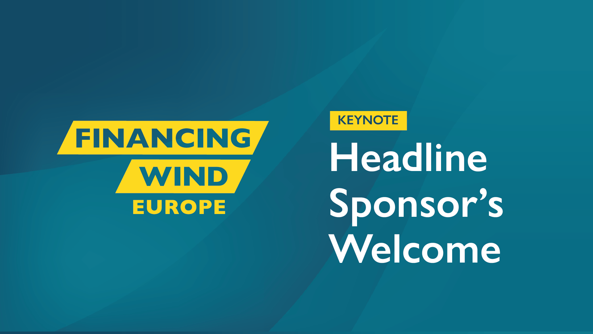 Financing Wind Europe - Headline Sponsor's Welcome