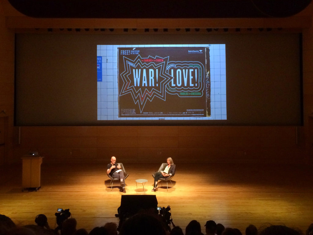Paula Scher and Adrian Shaughnessy in conversation at an AIGA NY talk