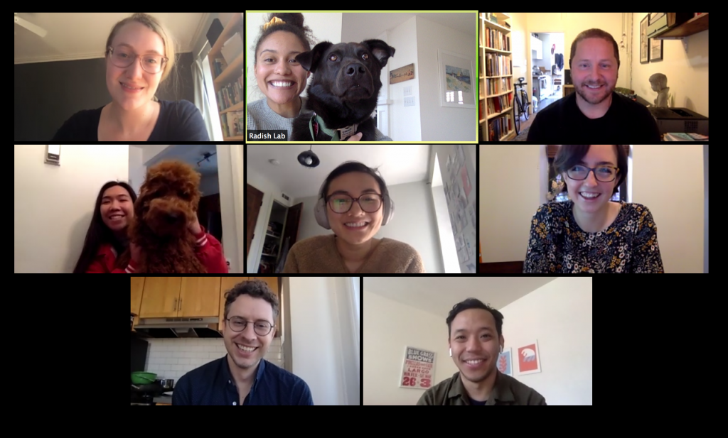 A photo of Radish Lab team members on a Zoom conference call, smiling at the camera.