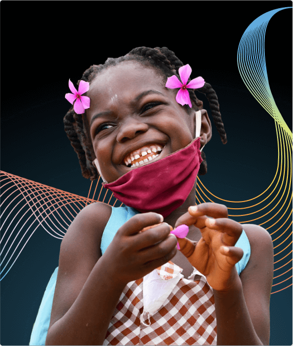 Little girl smiling with mask on and flowers in her hair, wavy lines flow in the background