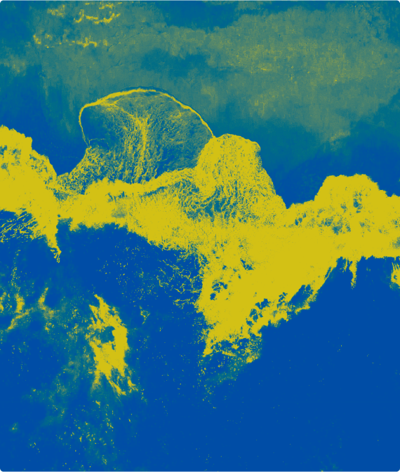 Aerial shot of waves crashing with a duotone effect applied