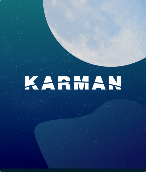 Karman logo overlaid on top of abstract background representing space with moon