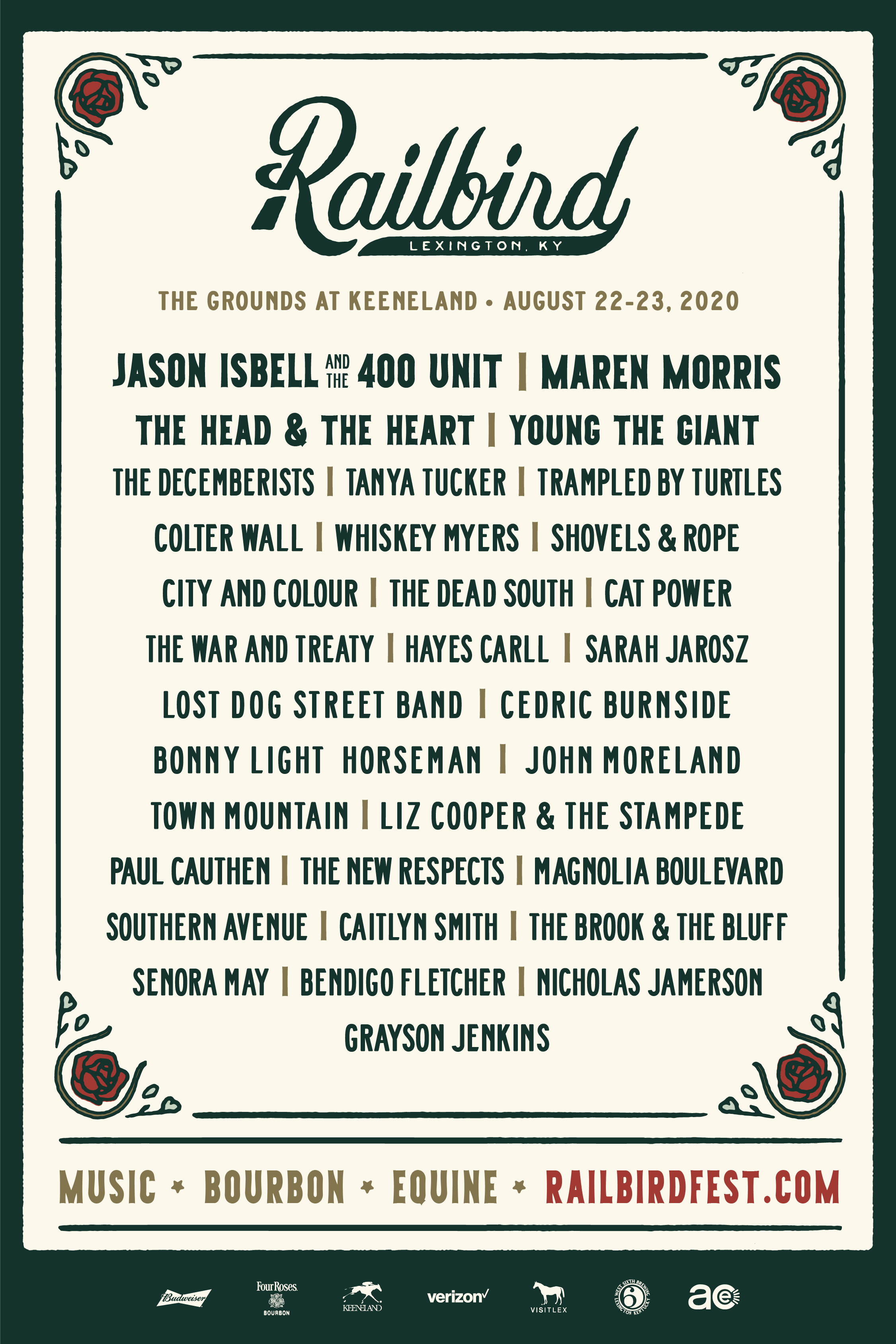 The Railbird Festival lineup for 2020!