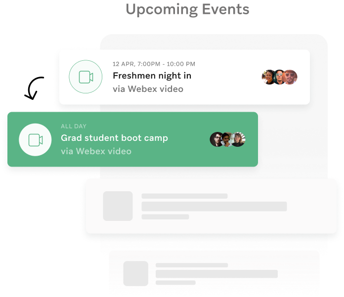 Upcoming student events on campus app