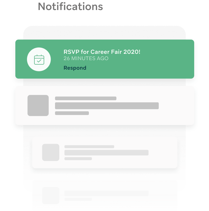 Push notifications to communicate with students